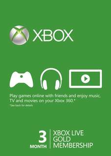 3 Month Xbox Live Gold Membership Card (Xbox One/360)