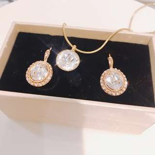 Earrings and necklace crystal set