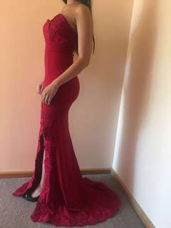Red strapless formal dress size 6