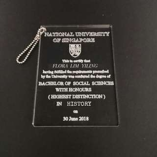 Graduation cert  customized keychain