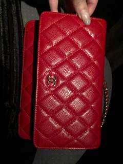 Wallet on chain woc Chanel quilted red gold hardware mirror quality caviar leather chain cc designer