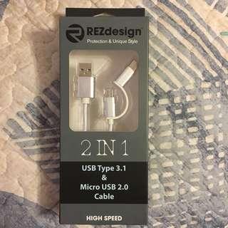 🆕全新Type C+Micro USB二合一充電線