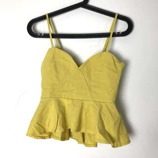 🚚 芥末黃 縮腰上衣