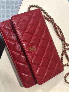 WOC red caviar leather CC Chanel wallet on chain mirror quality designer gold hardware purse