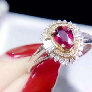 18k 紅寶石 鑽石 戒指💍