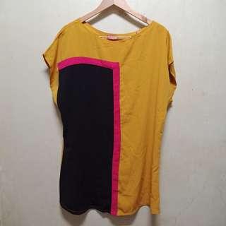 Flowy Spatial Dress made in Thailand mustard