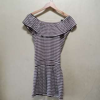 Stripe Off Shoulder Chocolate Brown from Thailand