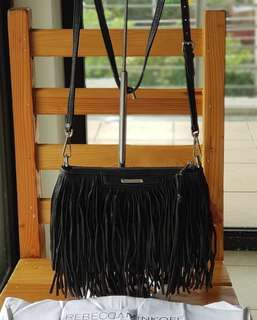 Authentic Rebecca Minkoff Finn Fringe Leather Sling Pebbled Leather Crossbody