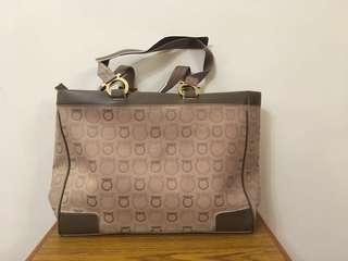 Salvatore Ferragamo brown pattern tote bag 全新