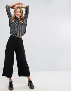 Monki Capri Trouser Wide Leg Black