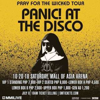2 UpperBox Tickets Panic! at the Disco's Pray for the Wicked concert