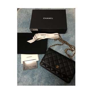 Authentic Chanel  Black  Wallet on Chain WOC Caviar Leather