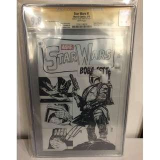 CGC SS 9.8 Star Wars #1 Sketch Edition Boba Fett Tales of Suspense #39 cover homage Variant Signed by Jason Aaron