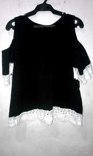 black open shoulder top with lace