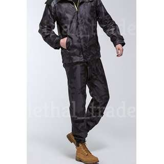 Gortex Style Black Camo Raincoat Rain Coat with Mesh Lining & Face Visor