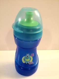 PRELOVED MAM Cartoon Monster Baby's Blue Sports Cup / Kid's Drinking Bottle 330 ml - in good condition