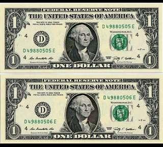 2009年 2連號 美金 美元 1元 全新直版