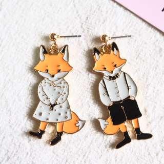 🚚 *instocks* BRUFF THE FOX COUPLE EARRINGS