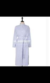 條紋襯衫長版洋裝