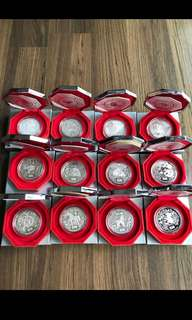 A088 - Singapore 1993 to 2004 Silver Proof Piedfort Lunar Coin Set