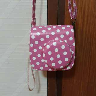 Instax Mini 8 Camera Bag Pink with White Polka Dots