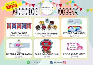 DIY Party- Customised Party Printables Promotion Package