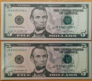 2009年 2連號 美金 美元 5元 全新直版