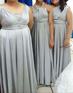 5 Gray / Silver / Blush Pink Infinity Gowns (FOR RENT)