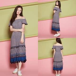 VL5506 New miss valley boho print off shoulder pompom maxi dress