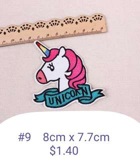 Unicorn iron on patch work / embroidery