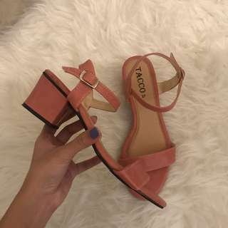 (WITH POSTAGE) PINK STRAP HEELS