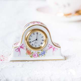 RESERVED Sweet vintage porcelain miniature table clock with pink bows and floral garland