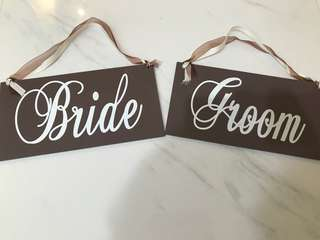 """Bride"" and ""Groom"" Wedding Sign"