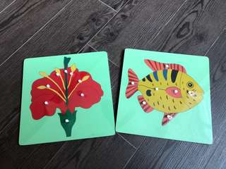 BN Montessori Puzzle - Fish and Flower Parts