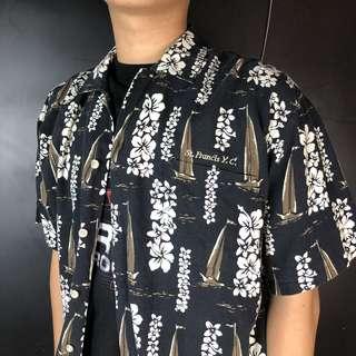 🚚 古著深藍色扶桑花+帆船短袖夏威夷襯衫H7