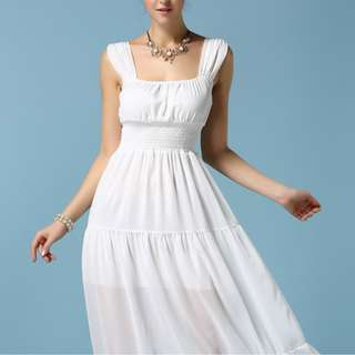 #July100 - FASHION MAXI DRESS WHITE (SIZE M)