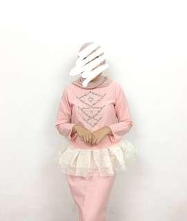 [REDUCED] Pink Cotton Organza Peplum Kurung Moden with Beads