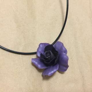 手作)) 超美銀紫玫瑰項鍊