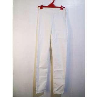 H&M White High-Waist Pants