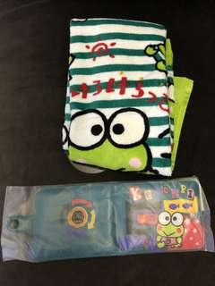 個人珍藏 絕版 青蛙 keroppi Sanrio set 毛巾及銀包 1996 2017