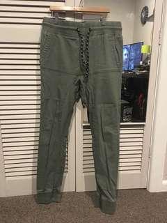 Army green cuffed pants