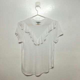 H&M ruffle white lucu