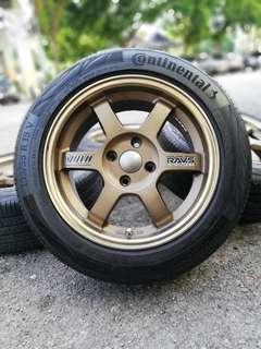 Te37 15 inch sports rim myvi ikon tyre continental 95% *padu beb*