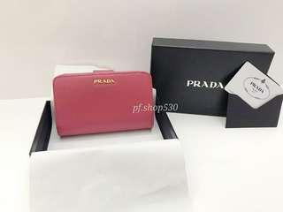 現貨全新Prada Leather Wallet 有散子位銀包
