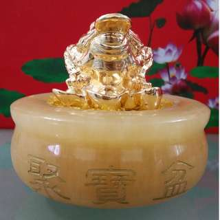12 cm Yellow Jade Wealth Pot + 7.5 cm Gold Plated Three Legged Money Toad