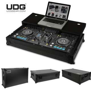 "UDG Ultimate Flight Case Pioneer XDJ-RX2 Black MK2 Plus (Laptop Shelf fits Laptop up to 19"" + Wheels)"