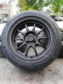Rays F1 15 inch sports rim bezza tyre 90%. *seperti pelumba litar*