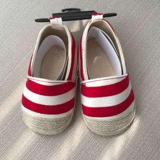 (買就送)全新寶寶鞋 紅白草編鞋 12m