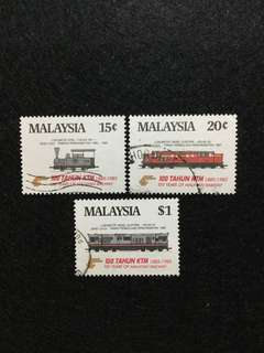 1985 100 Years of Malayan Railway (KTM) 3 Values Used Set  (ISC Catalogue Valued at RM7.00)