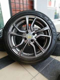 Type r 16 inch sports rim honda city tyre 70%. *power bosku*